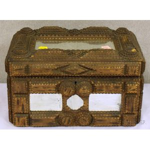Tramp Art Notch-carved Wood and Mirrored Glass Paneled Lidded Box