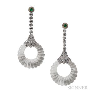 18kt White Gold, Carved Rock Crystal, and Diamond Earrings, Umrao
