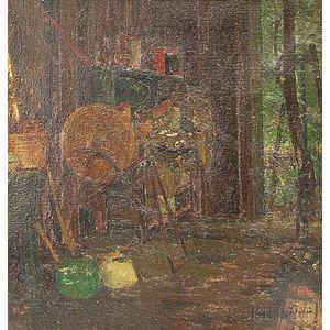 William Henry Howe (American, 1846-1929)      Workshop or Barn Interior.