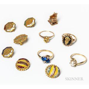 Group of Low-karat Gold Jewelry