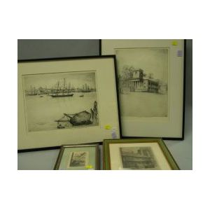 Lot of Four Framed Etchings