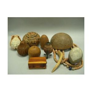 Lot of Ethnographic Decorated Gourds, Shells and Wooden Items.