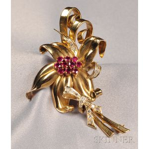 14kt Gold, Ruby, and Diamond Flower Brooch