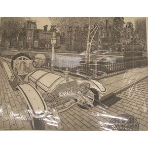 Unframed Etching on Paper Street Scene Boulevard by Bruce      McCombs (American, b. 1943)