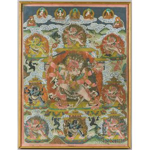 Thangka Depicting Six-armed Mahakala