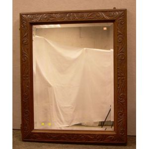 Large Victorian Carved Oak Mirror with Beveled Glass
