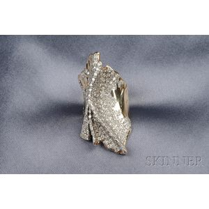 Abstract Design 14kt Bi color Gold Diamond Ring