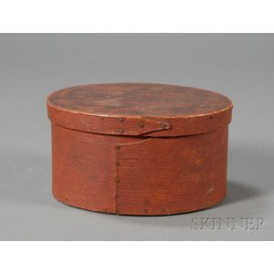 Red-painted Oval Lapped-seam Covered Pantry Box