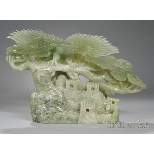 Asian Carved Hardstone Eagle Figural Group