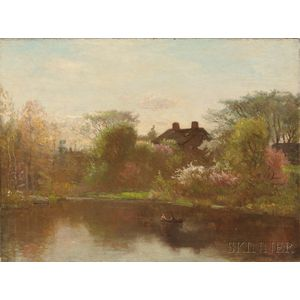 John Joseph Enneking (American, 1841-1916)      Pond in Spring, Possibly Hyde Park