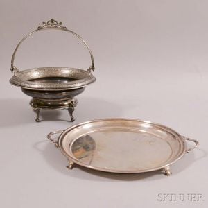Richard Dimes Sterling Silver Footed Tray and Derby Silver-plated Basket