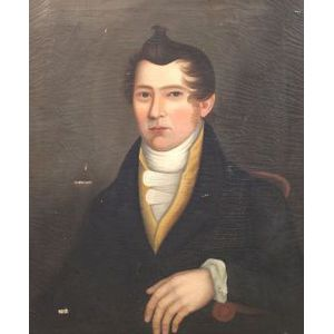 Attributed to Ammi Phillips (American 1788-1865)  Portrait of a Blue-Eyed Gentleman.
