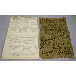 1834 Sarah C. Brown Needlework Sampler
