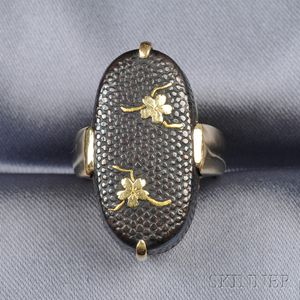 18kt Gold and Shakudo Ring, Gump