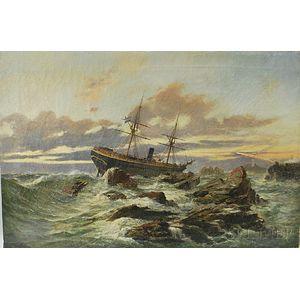 Continental School, 19th Century      Dutch Vessel Shipwrecked on a Rocky Coast.