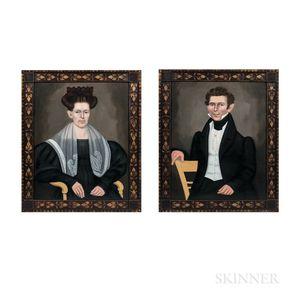 Erastus Salisbury Field (Massachusetts/New York, 1805-1900)      Pair of Portraits, a Husband and Wife
