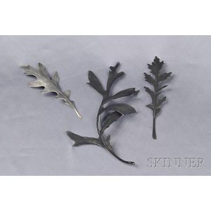 Set of Artist-Designed Patinated Silver Brooches, John Iverson