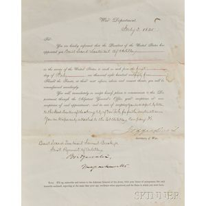 Davis, Jefferson  (1808-1889) Signed Military Commission, 1 July 1855.