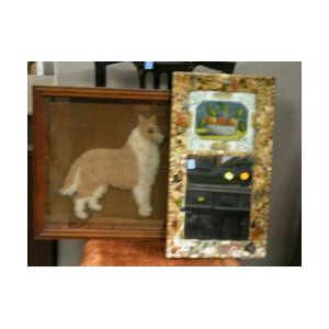 Framed Plush Work Picture of a Collie and a Memoryware Tabernacle Mirror.