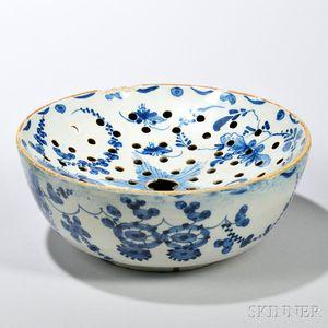 Tin-glazed Earthenware Colander Bowl