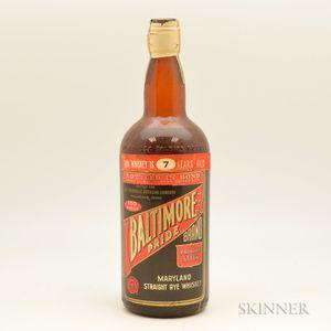 Baltimore Pride Straight Rye Whiskey 7 Years Old 1935, 1 quart bottle