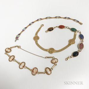 Four 14kt Gold Bracelets