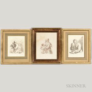 Francesco Bartolozzi (Italian, 1727-1815)      Three Framed Etchings After Works by Guercino.