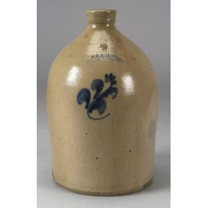 Cobalt Blue Floral Decorated Salt Glazed Two-Gallon Stoneware Jug