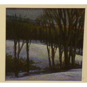Framed Pastel on Paper/board Winter Landscape by Sandy Wadlington      (American, 20th Century)