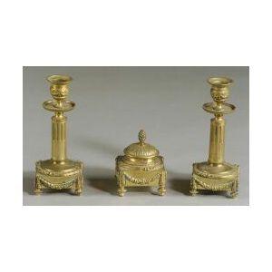 French Empire-style Bronze Three Piece Desk Set