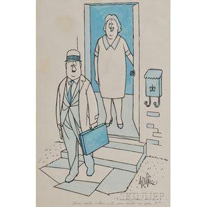 New Yorker   Cartoon, George Price (1901-1995) Original Artwork, 1970