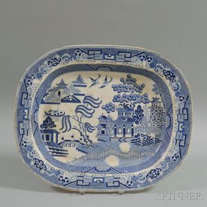 "Blue Transfer-decorated Ceramic ""Willow"" Platter"