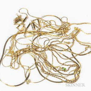 Ten 14kt Gold Chains
