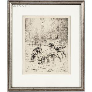 Percival Leonard Rosseau (American, 1859-937)      Hunting Dogs in Stream