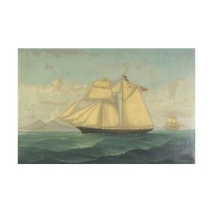 Continental, Anglo, or American School, 19th Century  Portrait of the Two-Masted Schooner Little Beauty.