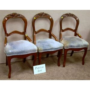 Set of Six Victorian Upholstered Carved Walnut Parlor Side Chairs.