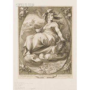 Jan Pietersz Saenredam (Dutch, 1565-1607), After Hendrik Goltzius (Dutch, 1558-1617)      Minerva Leaning on Her Shield