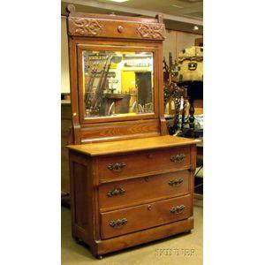 Late Victorian Oak and Mirrored Dresser.