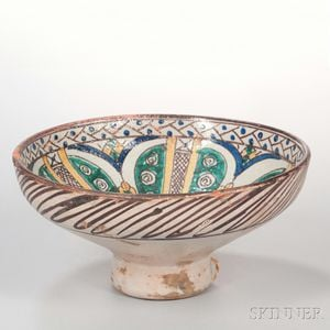 Large Beige-glazed Pottery Bowl
