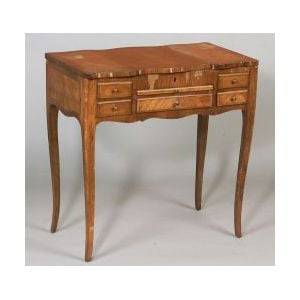 Louis XV Style Marquetry-inlaid Tulipwood Poudreuse, 19th century, with three hinged lids, two drawers and a sliding shelf on cabriole