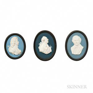Three Wedgwood Bert Bentley Tricolor Jasper Portrait Medallions