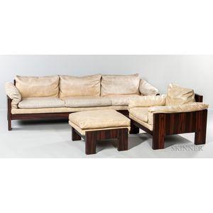 Milo Baughman for Thayer Coggin Rosewood Veneer Sofa Chair and Ottoman