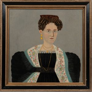 American School, Early 19th Century      Portrait of a Woman Wearing a Tortoiseshell Comb and Floral Scarf
