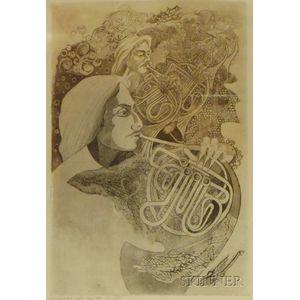 Three Prints Depicting Musicians