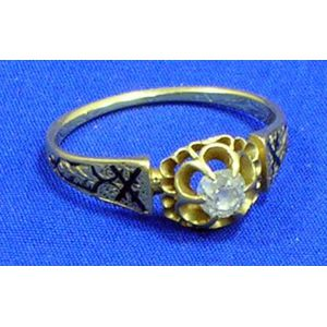 Gold, Diamond and Black Enamel Ring.