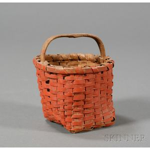Small Red-painted Woven Splint Basket