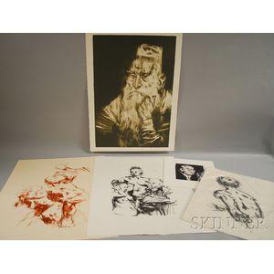 Jack Levine (American, b. 1915)      Six Works:  Kronos, Pygmalion, Torso of David, Cain,   Silent Eulogy