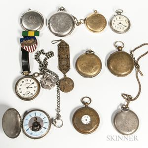 Eight Pocket Watches and Two Cased Cups