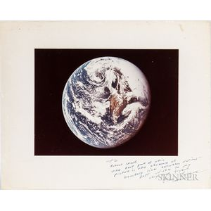 Apollo 17, Color Photograph of the Earth, Signed by Ron Evans.