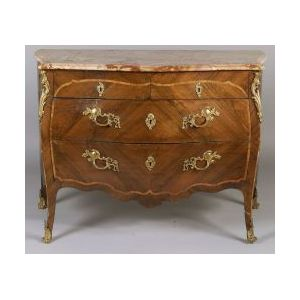 Louis XV Kingwood and Tulipwood Marble-top Commode